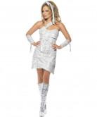 Disco Mumie Halloween Damenkostüm silber-weiss