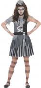 Zombie Geister Piratin Halloween Mädchen Kinderkostüm grau-weiß-schwarz