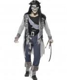 Skelett Zombie Geister Horror Pirat Halloween Kostüm schwarz-grau-blau
