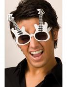 Gitarrenbrille Musikerkostüm-Accessoire weiss-schwarz
