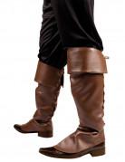 Schuhüberzieher Piratenstiefel Mittelalter-Schuhcover braun