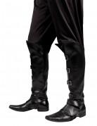 Piraten Stiefelstulpen mit Schnallen schwarz-silber