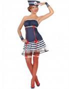 Sexy Matrosin Damenkostüm Seefahrerin blau-weiss-rot