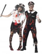 Zombiekostüm Polizistenpaar Halloween Erwachsene schwarz