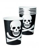Totenkopfbecher Halloween Tischdekoration 6 Stück schwarz-weiss 250 ml
