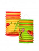 Mexiko-Lampions Party-Deko 2 Stück grün-gelb-rot 16cm