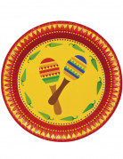 Mexiko Pappteller Party-Deko Fiesta 6 Stück bunt 23cm