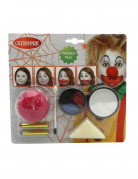 Clown Make-Up Schminke für Kinder violett-schwarz-rot