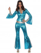 Sexy Disco-Jumpsuit Damenkostüm 70er hellblau-silber