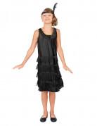 20er-Jahre Charleston Kinderkostüm Flapperkleid schwarz