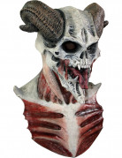 Teuflische Skelett Halloween Maske weiss-braun-rot