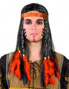 Indianer Perücke mit Zöpfen und Federn schwarz-rot