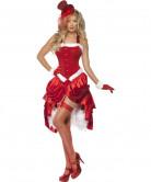 Burlesque Damenkostüm Weihnachtsfrau rot-weiss