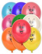Lustige Gesichter Party-Luftballons 10 Stück bunt 27cm