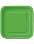 Viereckige Partyteller Pappteller 14 Stück grün 23x23cm