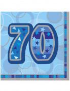 70 Jahre Servietten Geburtstagsservietten Jubiläumsdeko 16 Stück blau-lila-grau 33x33cm