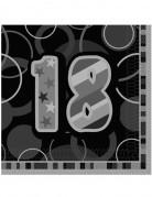 18 Jahre Servietten Geburtstagsservietten Jubiläumsdeko 16 Stück grau-schwarz 33x33cm