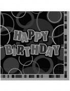 Happy Birthday Geburtstagsservietten Geburtstag-Tischdeko 16 Stück grau-schwarz 33x33cm