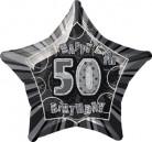 50 Jahre Happy Birthday Aluminiumballon Geburtstagsballon grau-schwarz 50x53cm