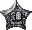 60 Jahre Happy Birthday Aluminiumballon Geburtstagsballon grau-schwarz 50x53cm