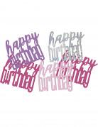 Geburtstags-Konfetti Happy Birthday rosa-silber-lila 14g
