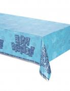 Geburtstag-Tischdecke Happy Birthday blau-silber 213x137cm