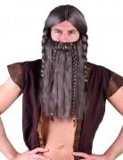 Wikinger-Perücke mit Bart und Zöpfen braun
