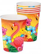 Hawaiiparty-Becher Flamingo und Blumen 6 Stück bunt 250ml