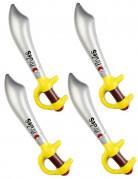 Aufblasbare Piratensäbel Piratenschwerter 4 Stück silber-gelb 60cm