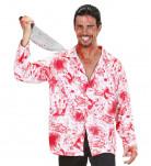Blutiges Halloween Hemd rot-weiss