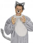 Wolfschwanz aus Plüsch biegbar grau