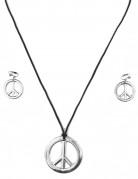 Hippie Peace Set Ohrringe Clips und Halskette braun-silber