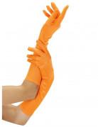 Damenhandschuhe lang Kostümaccessoire neonorange