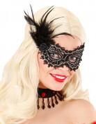 Verführerische Augenmaske mit Rosen und Federn schwarz