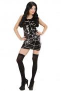 Halloween-Pailletten-Kleid Spinnennetz schwarz-weiss