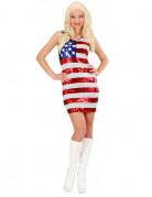 Kurzes USA Kleid mit Pailletten für Damen weiss-rot-blau