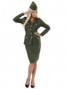 Elegante Soldatin Kostüm für Damen khaki