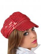 Disco Pailletten Kappe für Damen rot