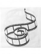Filmband-Servietten Hollywoodparty-Deko 20 Stück weiss-schwarz 33x3ccm