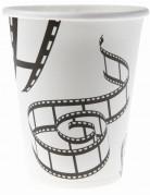 Filmband-Becher Hollywoodparty-Deko 10 Stück weiss-schwarz 7,5x9cm