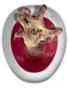 Schaurige Hand Halloween Toiletten-Sticker bunt 30x43cm