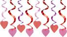 Herz-Hängedeko Valentinstag-Dekospiralen 15 Stück rosa-rot 45cm