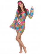 Hippie-Damenkostüm Flower-Power-Kleid bunt
