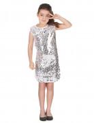 Disco-Kostüm mit Pailletten für Kinder silber