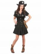Sexy Cowgirl Western Damenkostüm schwarz-silber