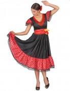 Flamenco-Tänzerin Damenkostüm Punktekleid rot-schwarz