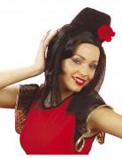 Spanische Tänzerin Schleier mit Rose schwarz-rot