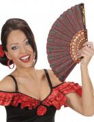 Spanischer Flamenco Fächer mit floralem Motiv rot-schwarz