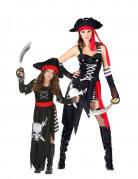 Piraten-Kostüm für Mutter und Tochter schwarz-rot