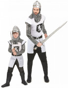 Mutige Ritter Mittelalter-Paarkostüm Vater und Sohn weiss-silber